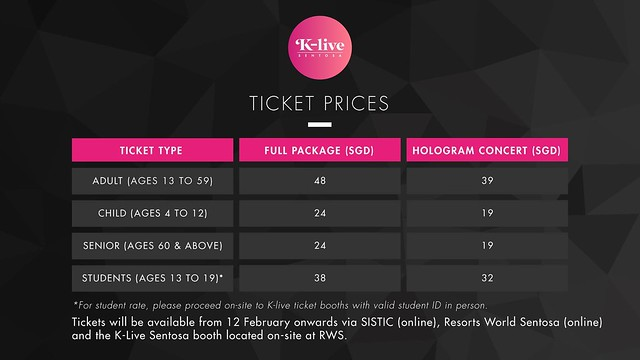 TICKET PRICING OF K-LIVE sgXCLUSIVE