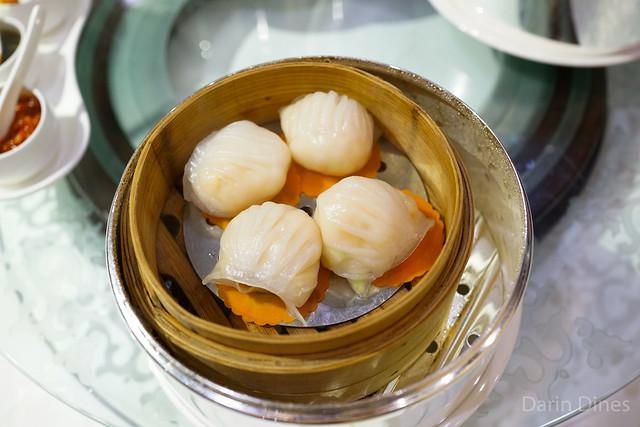 Steamed shrimp, pork, asparagus and bamboo shoots dumplings