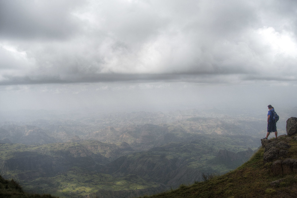 Looking out over the Simien Mountains National Park, Ethiopia.
