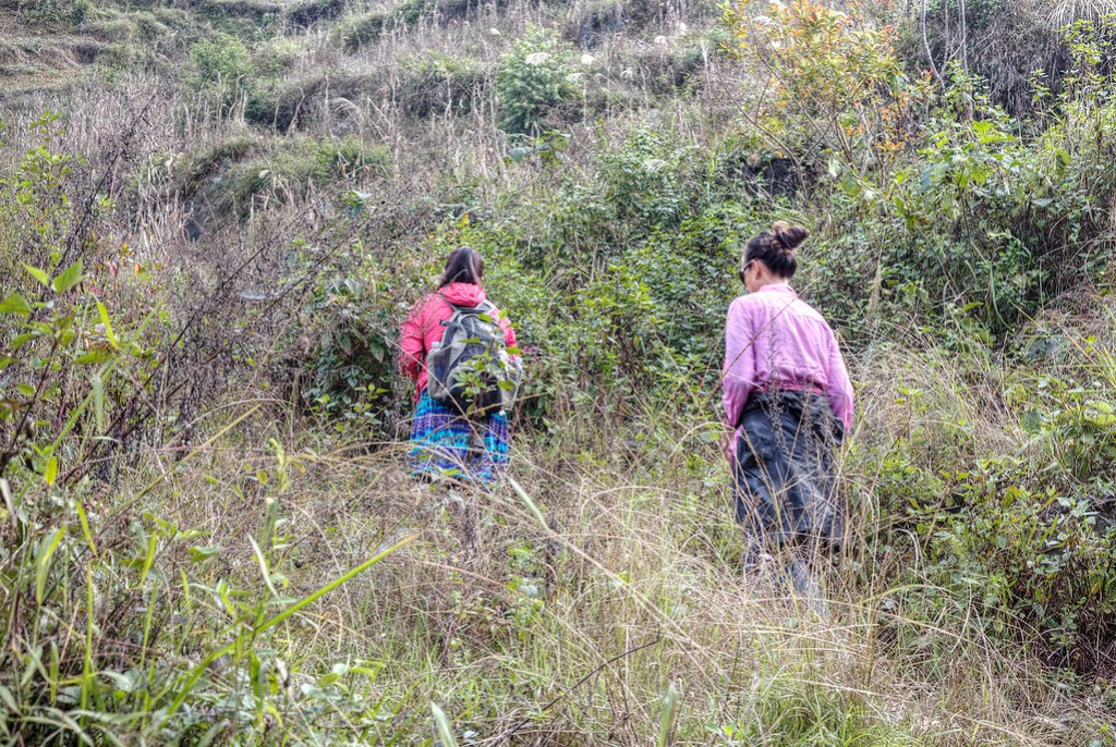Za and Heather on the trail in Bac Ha, Vietnam.