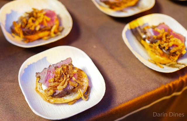 The Palm sliced new york strip crostini; lobster bisque