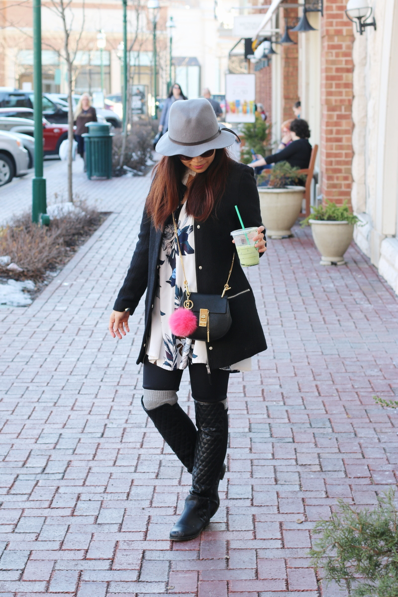 Spring look, floral dress, President's Day Sales, hat, outfit, quilted boots