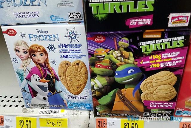 Betty Crocker Disney Frozen Chocolate Chip Oat Crisps and Teenage Mutant Ninja Turtles Cinnamon Oat Crisps