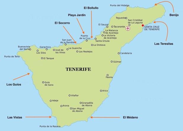 Mapa de Playas de Tenerife