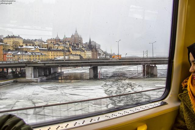 Frozen river, stockholm