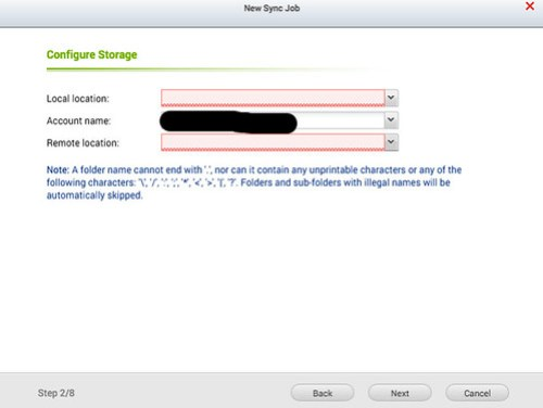 เลือกโฟลเดอร์ที่จะซิงก์ข้อมูล และเลือกว่าจะซิงก์อะไรจาก Cloud storage