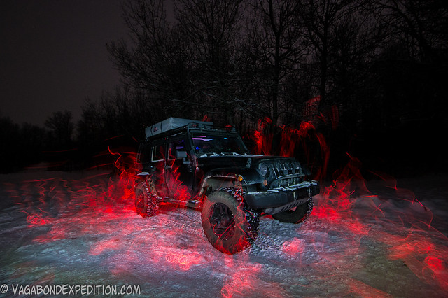 a first attempt at the fire effect with electroluminescent wire and the jeep wrangler