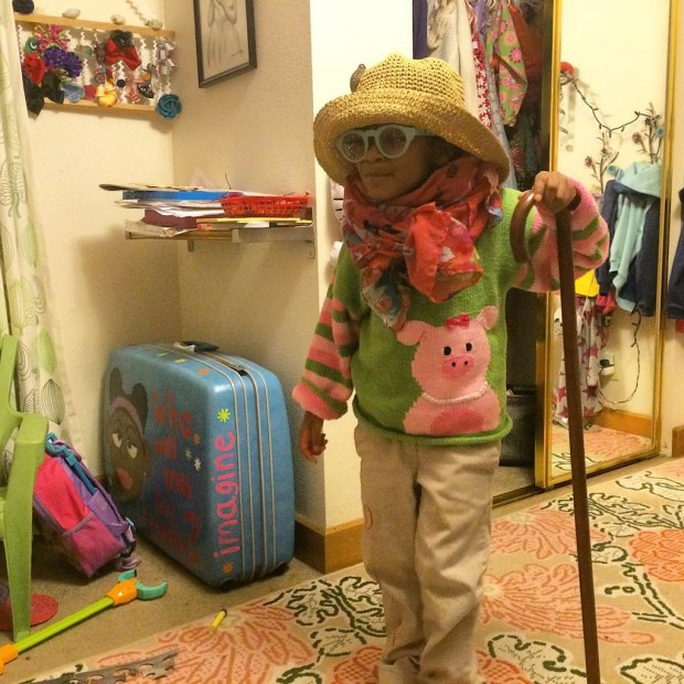 Getting ready for her 100th day of school, where they'll #dressup like they're #100yearsold.