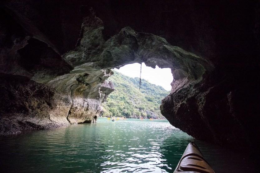Kayaking through some caves in Ha Long Bay.