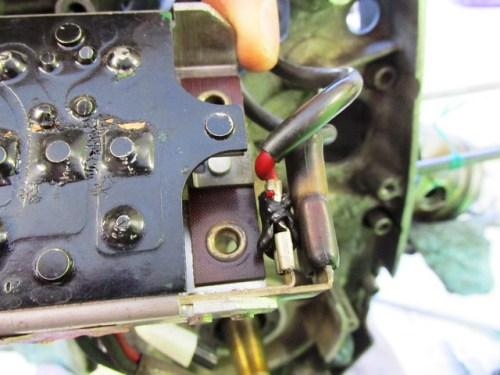 (2) Wires on Right Side of Diode Board (Note Melted Insulation)
