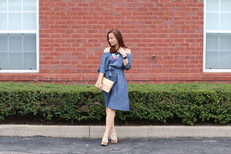 eShakti off shoulder chambray dress, wedge sandals