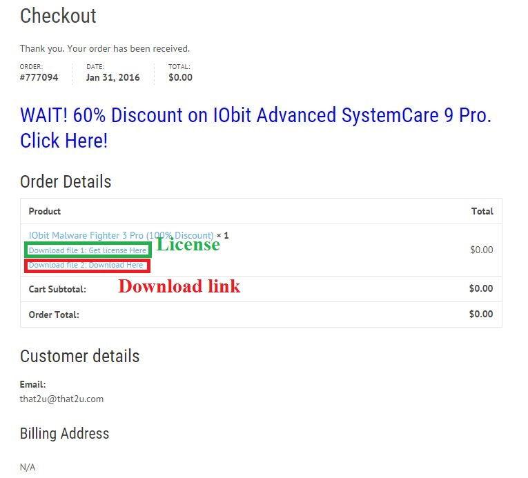 Bản quyền miễn phí IObit Malware Fighter 3 Pro bước 4: nhận link download và license