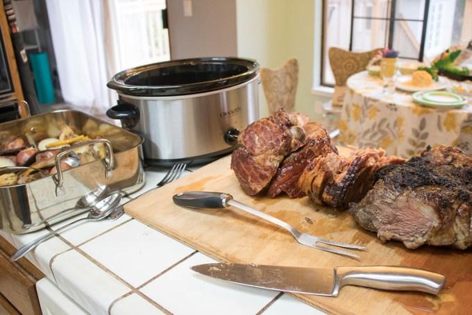 Easter Dinner: Leg of Lamb and Ham