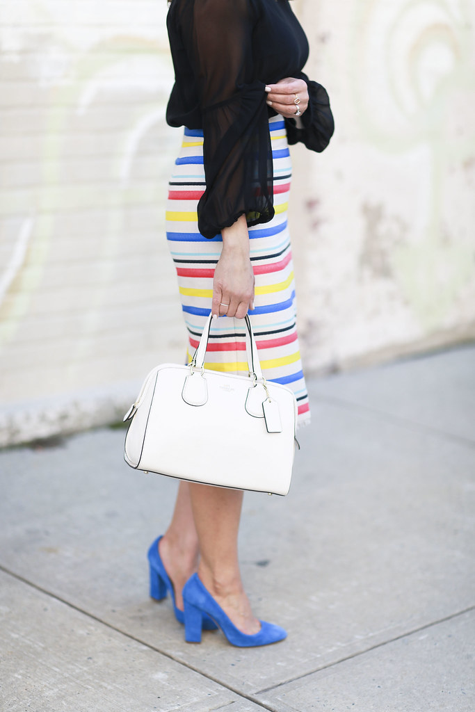 Jcrew skirt-colorful-stripes-blue heels-what to wear to work-corporate outfit-thredup-corproate catwalk-club monaco shirt-black top6