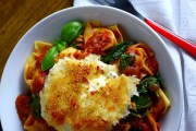 Spicy Tomato Pasta and Melting Mozarella