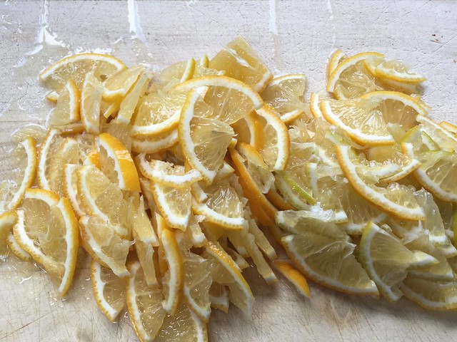Sliced bergamot lemons for marmalade