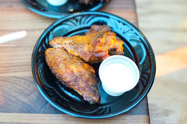 Virgil's BBQ bbq chicken wings; texas beef brisket