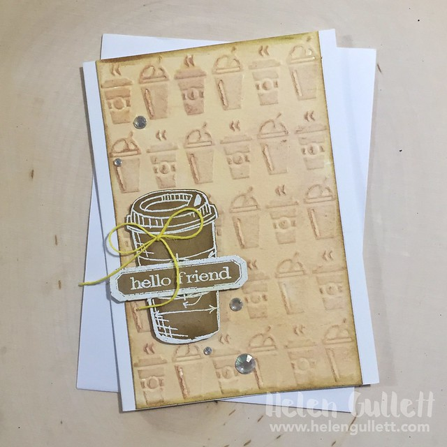 Hello Friend A coffee card using Sizzix/Tim Holtz stamp, dies & embossing folder. More on my blog today --> http://helengullett.com/?p=8787<br /> #creatingjoyfully #springclh #coffeelovingcardmakers #coffeelovingpapercrafters #sizzix #timholtz #wrmk #americancrafts #evolutionadvanced #cardmaking #handmadecard #papercrafting #embossing #stamping #diecutting #diy #NationalCraftMonth #oamandfriends #coffeetime