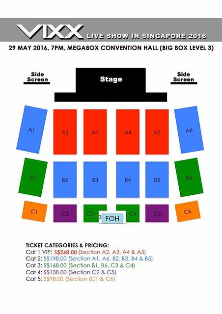 VIXX Live in Singapore Seating Plan