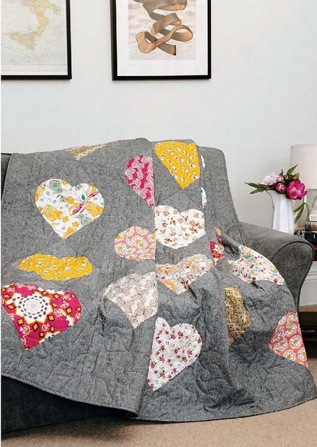 Drunken Hearts Quilt - Sewing World Feb16