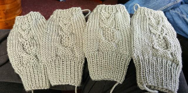 Owl fingerless mittens are multiplying