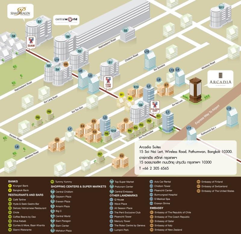 MAP of Arcadia Suites Bangkok