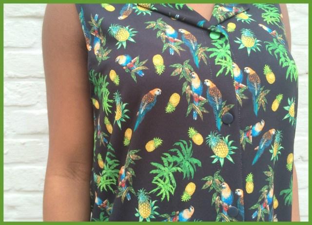 parrot shirt dress (close-up) - Bangkok Basic blouse hack