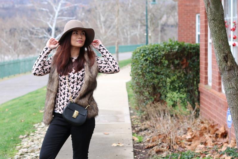 rose quartz top, romwe faux fur vest, hat attack hat