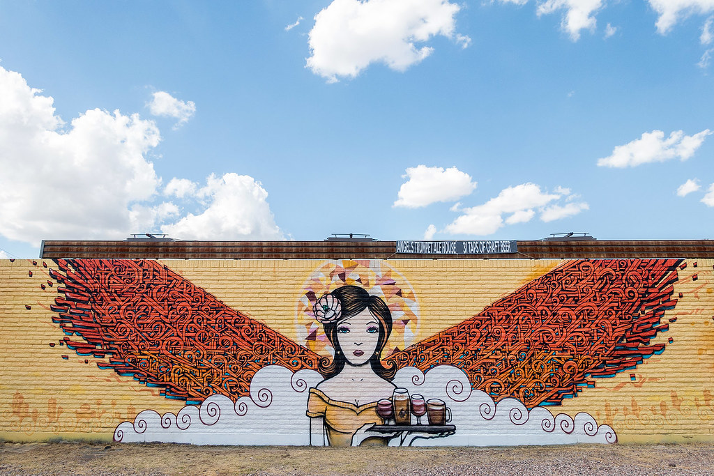 """Angels Trumpet Ale House by Thomas """"Breeze"""" Marcus and Lalo Cota - Mural."""