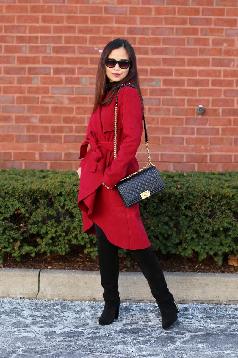 shein red bow coat, chanel boy bag