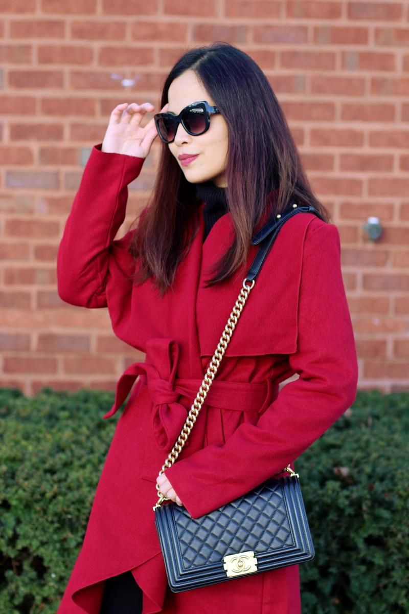 SheIn red coat, Chanel Boy Bag, Quay sunglasses