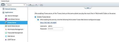 เปิดใช้ iTunes Server ใน Control Panel