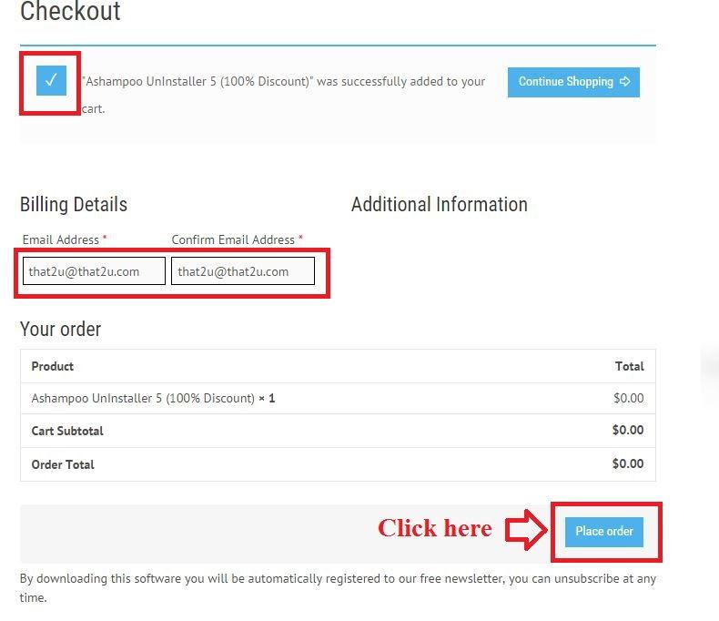 Bản quyền miễn phí Ashampoo UnInstaller 5 bước 3: nhập email