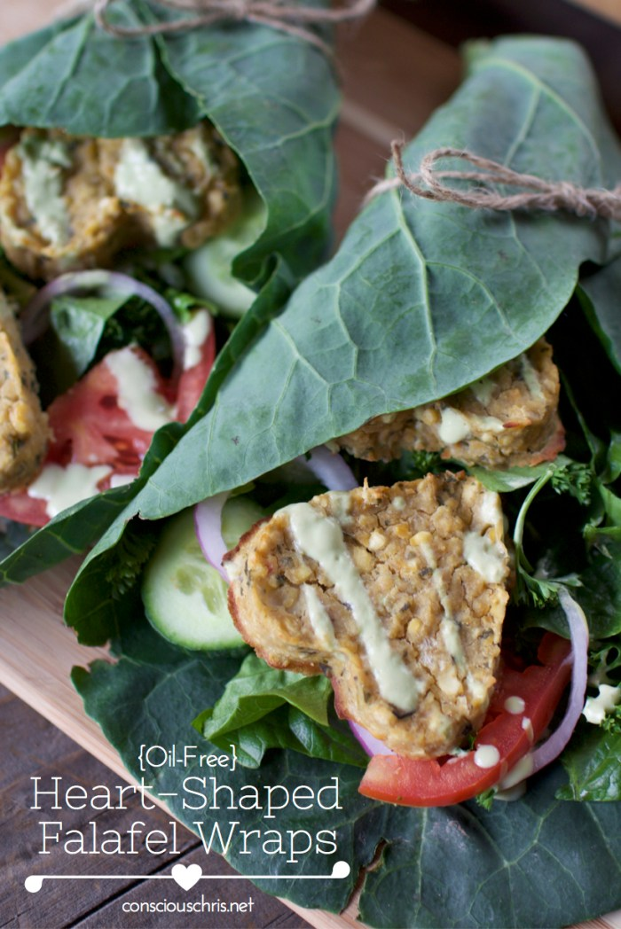 Heart Shaped Falafel Wrap - Vegan Valentine's Day Menu | Consciouschris.net