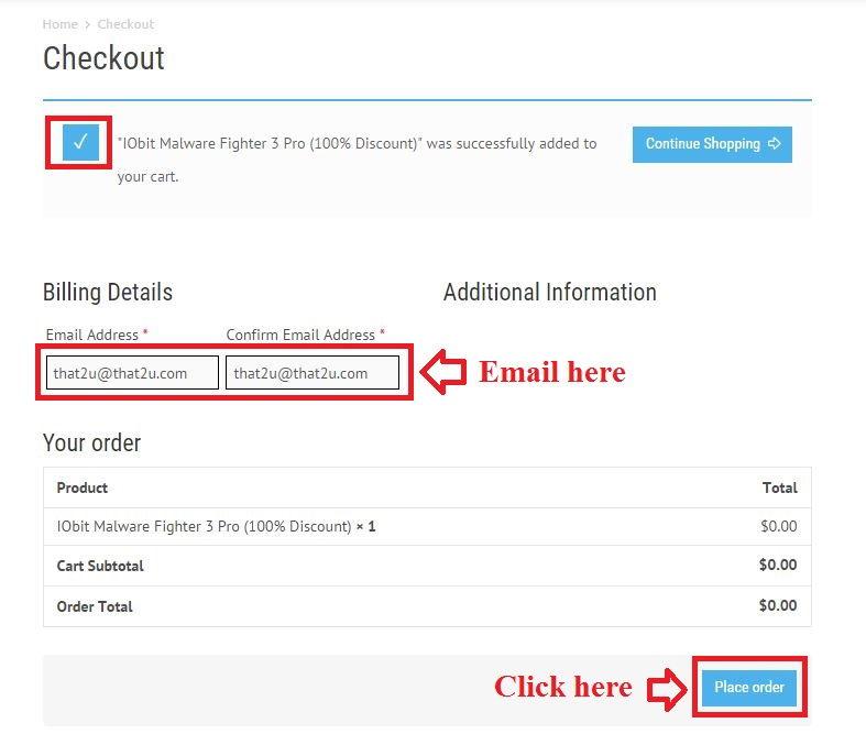 Bản quyền miễn phí IObit Malware Fighter 3 Pro bước 3: nhập email