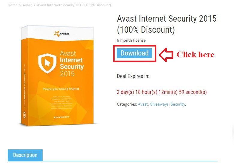 Bản quyền miễn phí Avast Internet Security 2015 bước 2: click download