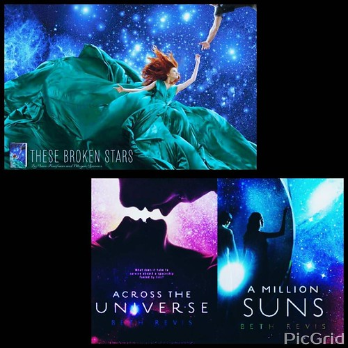 "Day 5a of #AuthorLifeMonth! Apparently ""comp covers"" actually refers to books similar to our own in terms of genre, mood, and such. Here are a few for me: the amazing ""Across The Universe"" trilogy by @bethrevis, and the equally wondeful ""These Broken Star"