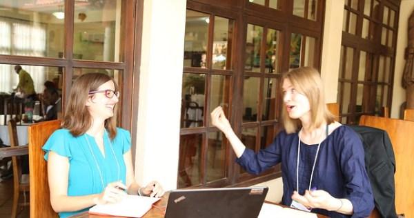 Sara Signorelli from IFPRI (left) and Mirja Michalscheck (WUR) (Photo credit: IITA/Jonathan Odhong')