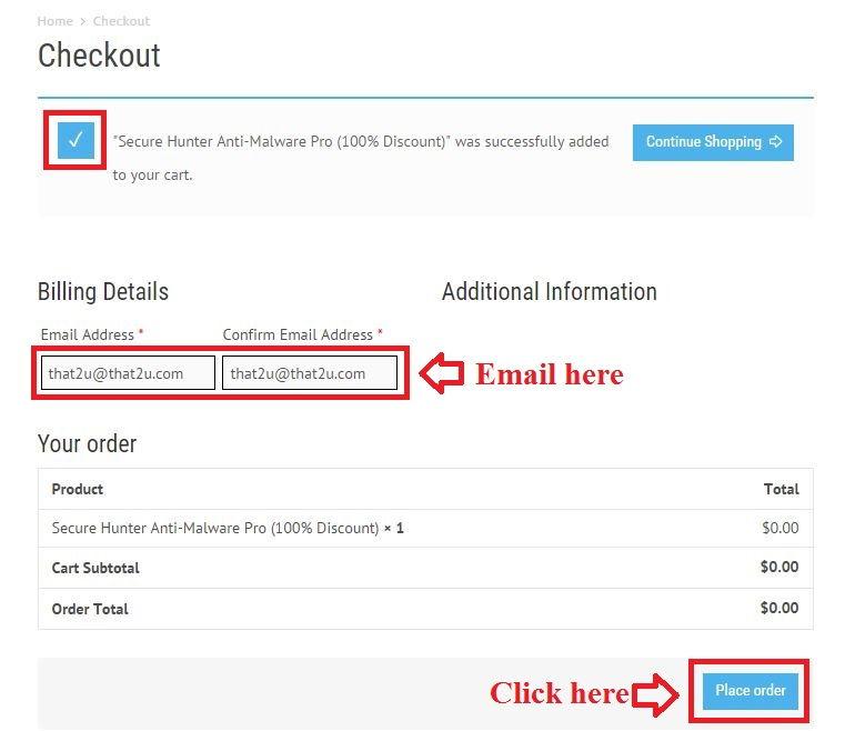 Bản quyền miễn phí Secure Hunter Anti-Malware Pro bước 3: nhập email