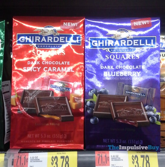 Ghirardelli Dark Chocolate Spicy Caramel and Dark Chocolate Blueberry Squares