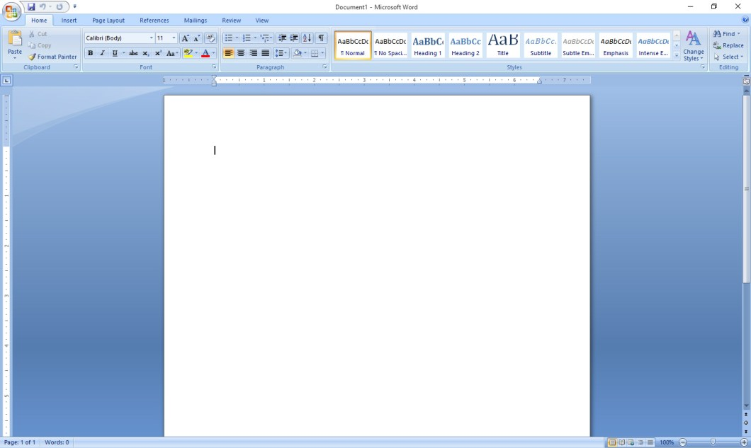 MS Word 2007 interface