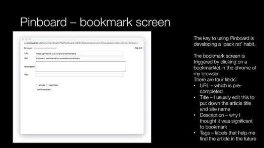 Pinboard - bookmark screen