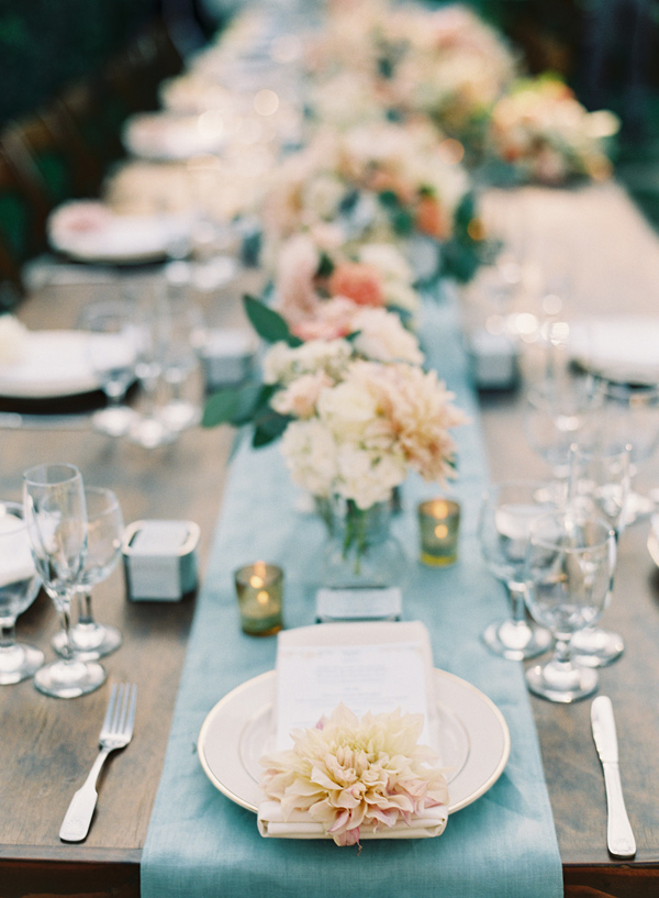 Wedding Table setting - Midsummer Night's Dream wedding Inspired + blue and aqua wedding colour theme