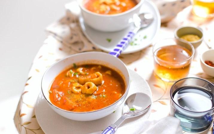 Tomato and Mushroom Tortellini Soup