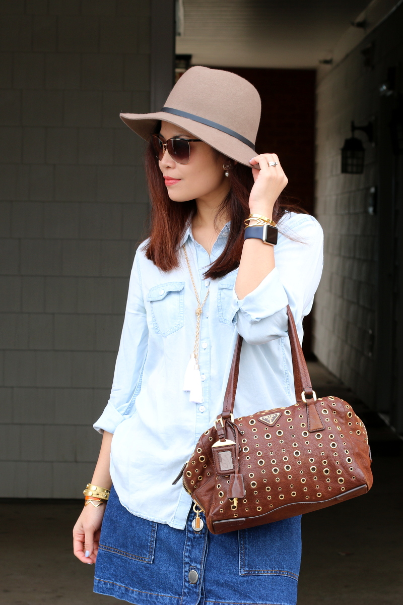 hat-chambray-top-prada-bag-4