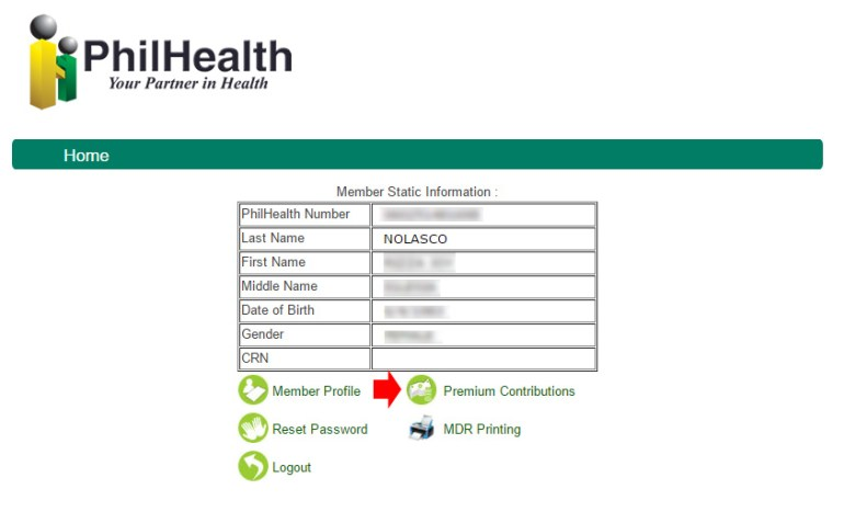 Check Philhealth contribution online - Static Info
