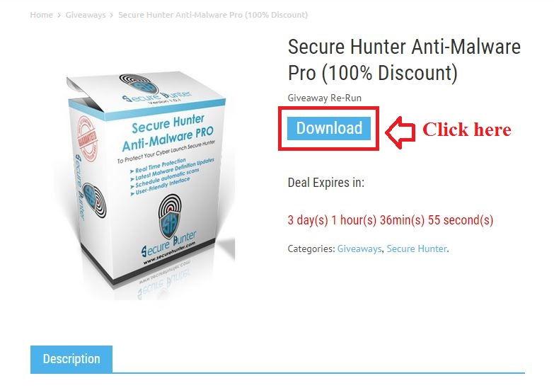 Bản quyền miễn phí Secure Hunter Anti-Malware Pro bước 2: click download