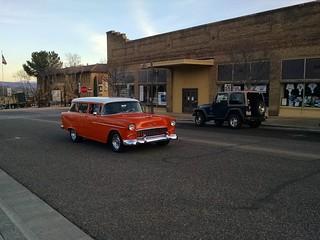 orange hot rod wagon, 89A, Clarkdale, AZ