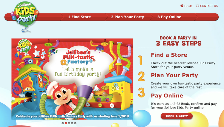 Party was delighted to find out that everything i needed to know was online i can even book and plan the entire party online well for jollibee at least stopboris Choice Image