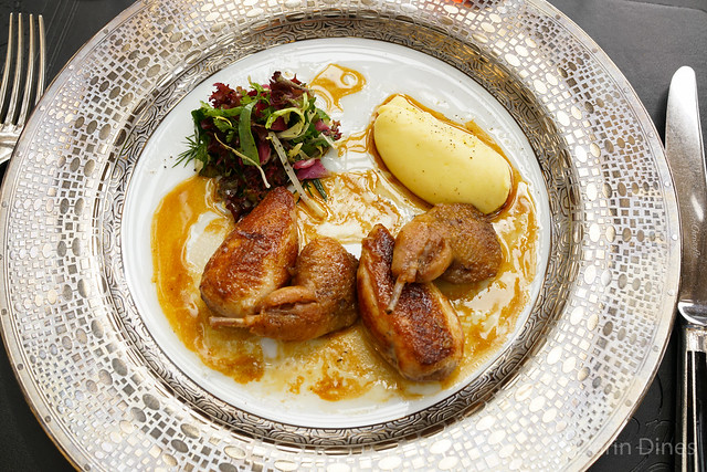 La Caille Royale Free-range quail with mashed potato and herbs salad